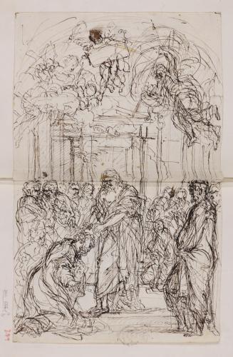Estudio de Jesús imponiendo las manos a San Pedro