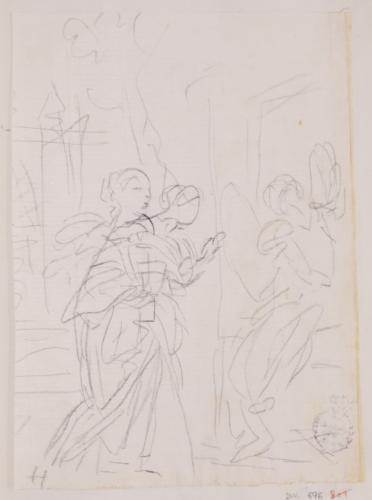 Estudio compositivo de un Ángel y las Marías ante el sepulcro de Jesús