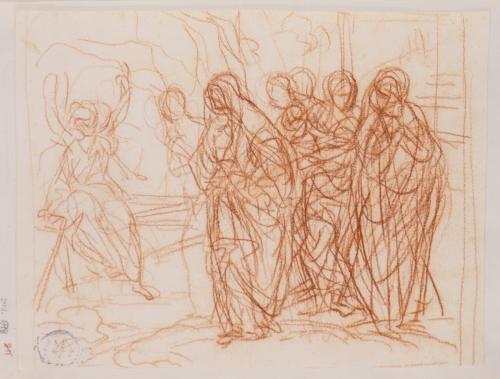 Estudio compositivo de varias mujeres y un ángel en el sepulcro de Jesús