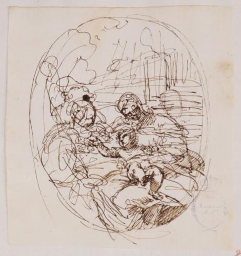 Estudio compositivo de la Virgen con el Niño y una Santa