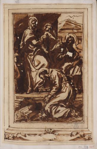 Estudio de la Virgen con el Niño, Santiago y San Francisco