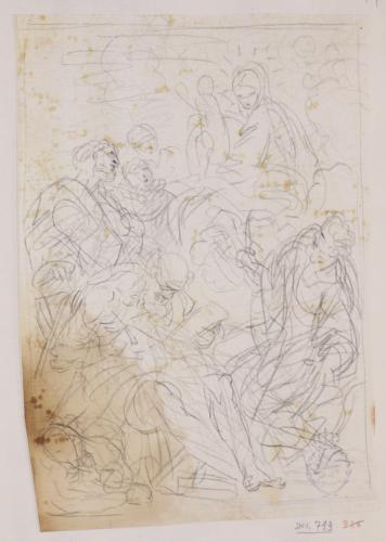 Estudio de la Virgen con el Niño y San Juan Bautista, San Eusebio de Vercelli, Beato Amadeo de Savoya y la Beata Margarita de Savoya