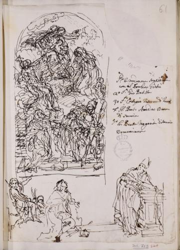 Estudio compositivo de la Virgen con el Niño en gloria con San Eusebio de Vercelli, san Juan Bautista, el beato Amadeo de Saboya y la beata Margarita de Saboya