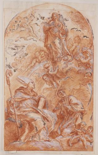 Estudio compositivo de la Virgen con santo Tomás de Villanueva y San Francisco de Sales