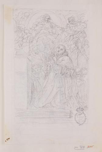 Estudio campositivo de la aparición de la Virgen a un santo arrodillado