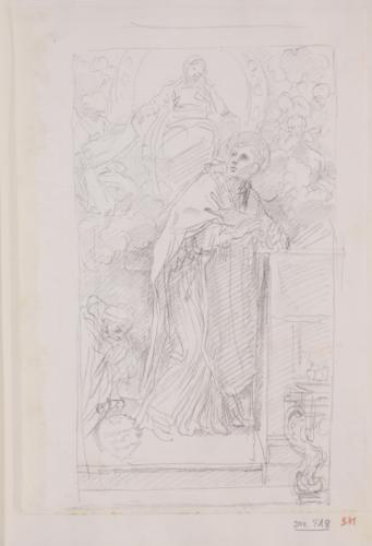 Estudio compositivo de la aparición de la Virgen a un santo