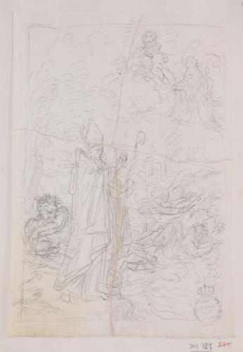 Estudio compositivo de San Bernardo Uberti expulsando demonios