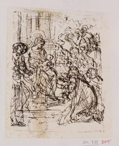 Estudio compositivo de la adoración de los Reyes Magos