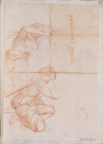 Estudio de figuras femeninas tirando con arco