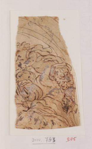 Fragmento de una composición con una figura masculina y un angelito