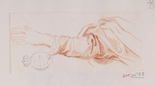 Estudio de brazo extendido con ropaje