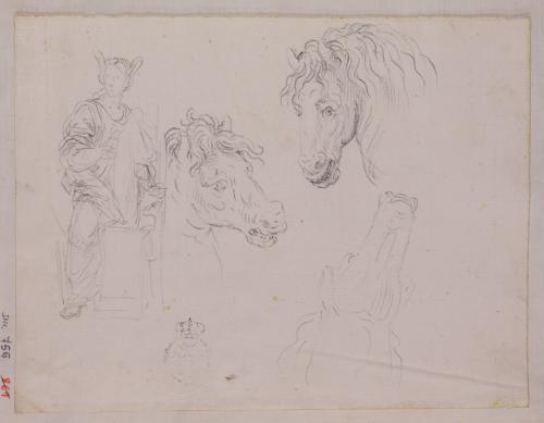 Estudios de tres cabezas de caballo y figura alegórica