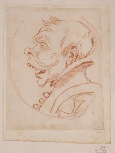 Caricatura de caballero de la orden de Malta de perfil hacia la izquierada