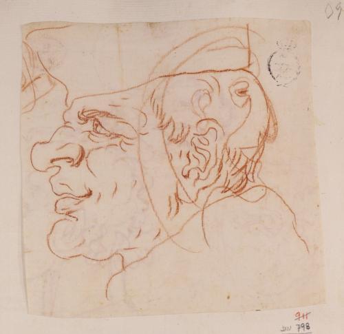 Caricatura de prelado de perfil hacia izquierda y otra masculina supuerpuesta a la derecha