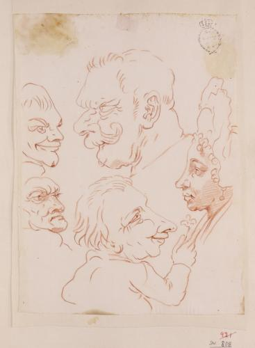 Cuatro caricaturas masculinas de perfil y una femenina de una dama