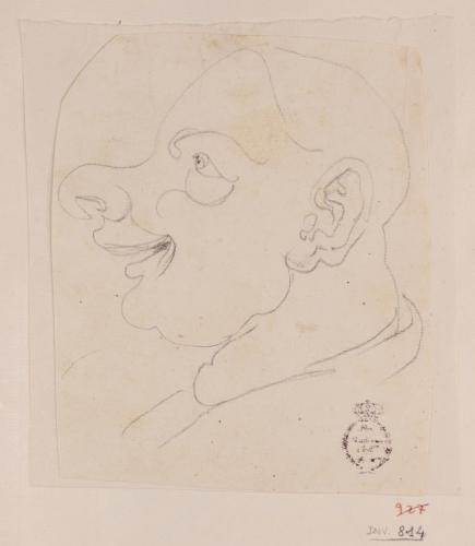 Caricatura masculina de perfil hacia la izquierda