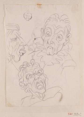 Tres caricaturas masculinas, una de perfil y dos de frente
