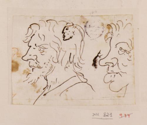 Dos caricaturas masculinas de perfil