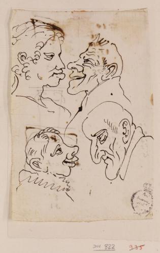 Tres caricaturas masculinas y una femenina de perfil enfrentadas