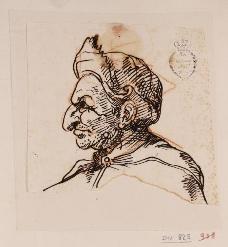 Caricatura de prelado de perfil hacia la izquierda