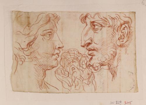Dos cabezas de perfil femenina y masculina enfrentadas y caricatura de frente