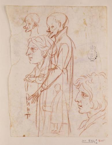 Caricaturas de clérigo, caricatura femenina de perfil y estudio de cabeza masculina de perfil