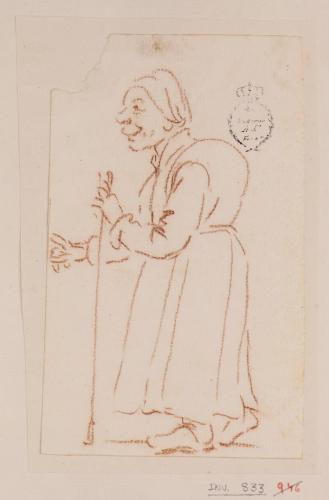 Caricatura femenina de cuerpo entero de perfil hacia la izquierda