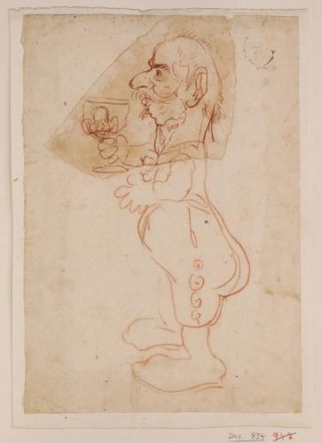 Caricatura masculina de cuerpo entero perfil hacia la izquierda