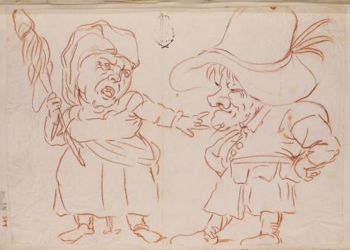 Dos caricaturas de cuerpo entero, una masculina de campesino y otra femenina de una hilandera