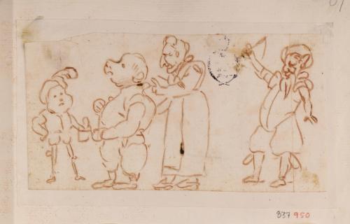 Cuatro caricaturas masculinas de cuerpo entero