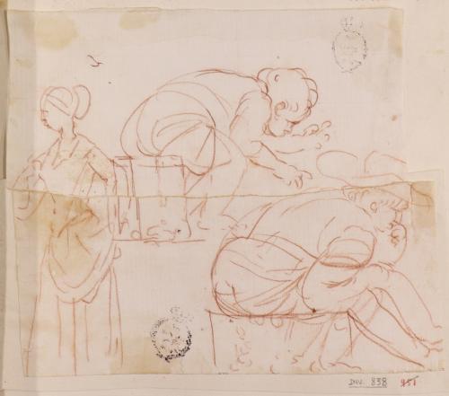 Caricatura femenina de cuerpo entero de perfil y dos niños defecando