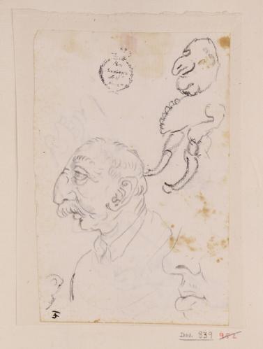 Dos caricaturas masculinas de perfil hacia la izquierda y un estudio de nariz y boca