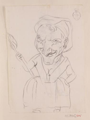 Caricatura femenina de cuerpo entero de perfil de una anciana hilandera