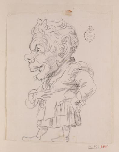 Caricatura masculina de cuerpo entero de perfil