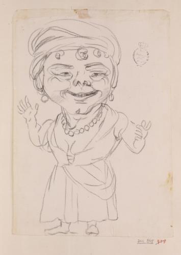 Caricatura de una dama de cuerpo entero de frente