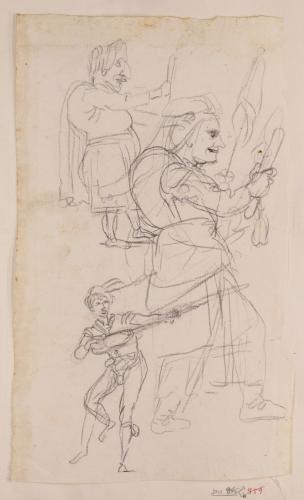 Dos caricaturas de cuerpo entero de perfil hacia la derecha y un estudio de trovador
