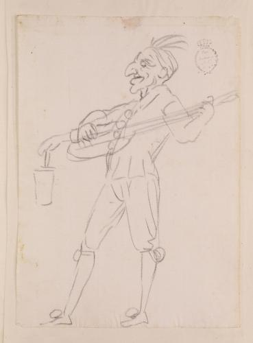 Caricatura de músico o trovador de perfil
