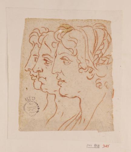 Tres cabezas femeninas de perfil superpuestos hacia la izquierda
