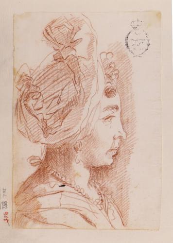 Estudio de cabeza femenina de perfil con tocado