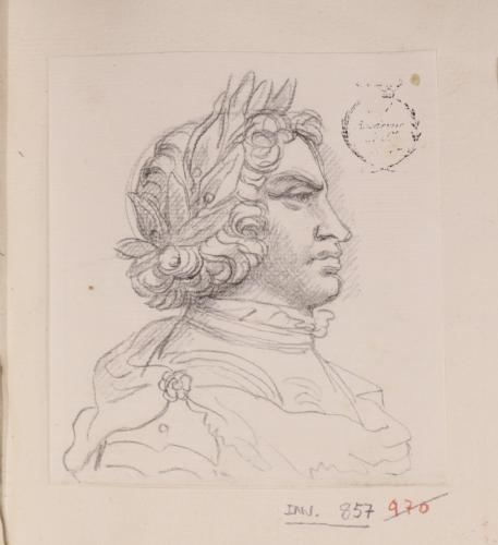 Caricatura masculina de perfil con corona de laurel hacia la derecha