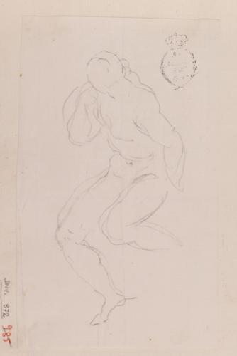 Apunte de figura masculina desnuda sentada (Hércules?)