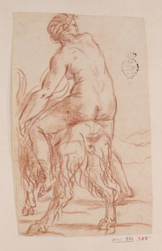 Estudio de mujer desnuda montada sobre un macho cabrío