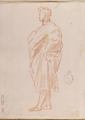 Estudio de figura masculina togada, en pie