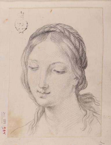 Estudio de cabeza femenina (Virgen?) con peinado trenzado