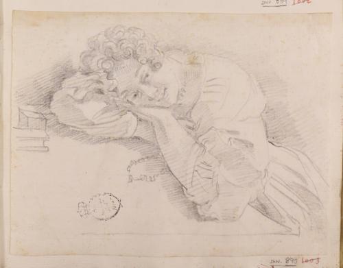 Estudio de mujer recostada sobre ambos brazos en una mesa
