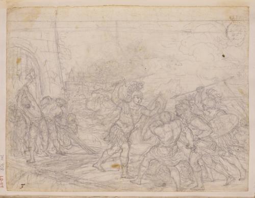 Escena de batalla en un puente que da entrada a una fortaleza