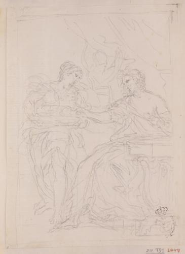 Estudio de Cleopatra y su sierva preparando el suicidio
