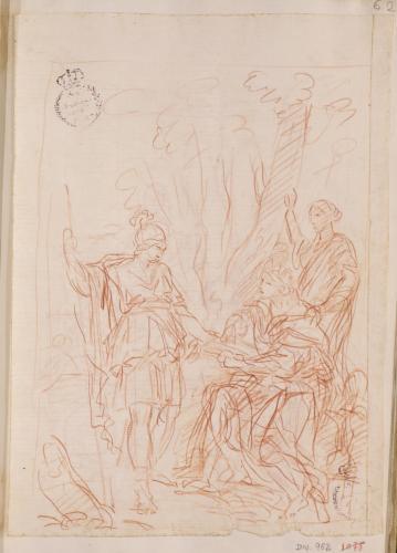 Estudio de Numa Pompilio dictando las leyes a Roma inspirado por la ninfa Egeria