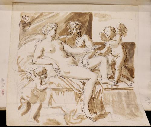 Estudio de Venus y Marte en el lecho, rodeados por amorcillos