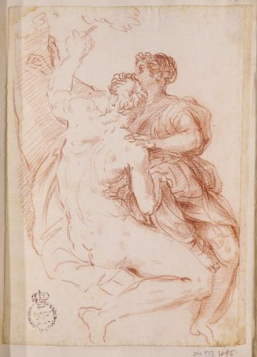 Estudio de un hombre desnudo junto a una figura femenina vestida